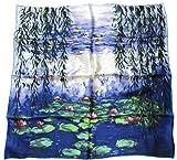 Avenella Künstlerisches Edles Seidentuch Kunstdruck Claude Monet Seerosen Halstuch 100% Seide Impressionismus, handrolliert