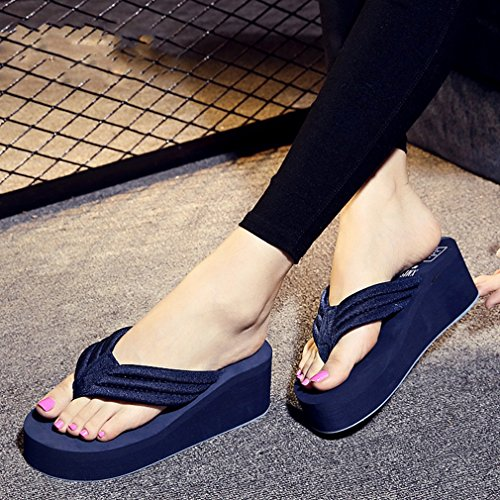 ... Damen Zehentrenner Dicke Sohle Textil Atmungsaktiv Plateau Sommer  Mehrfarbige Freizeit Sandstrand Schuhe Dunkelbrau