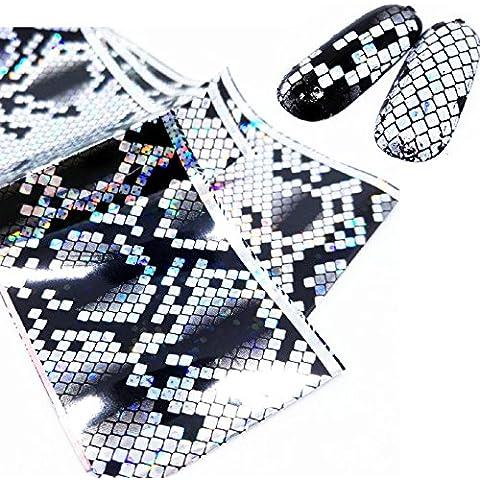 Goldenssy 1x 120cm Transfer Foil Adesivi Sticker di stampa Lamina Ricostruzione Unghie Nail Art carta Riflettente Nero Argento modello romantico Scala