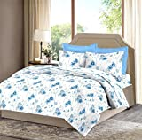 Bombay Dyeing Celiosa 120 TC Cotton Double Bedsheet with 2 Pillow Covers - Blue