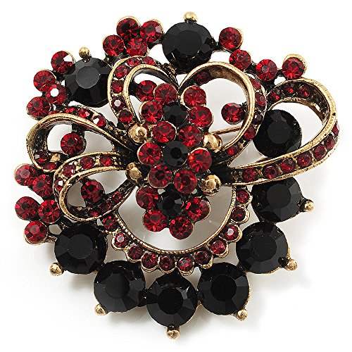 Unbekannt Burgund Rot & schwarzen mit Corsage Brosche (Antik Goldfarben)