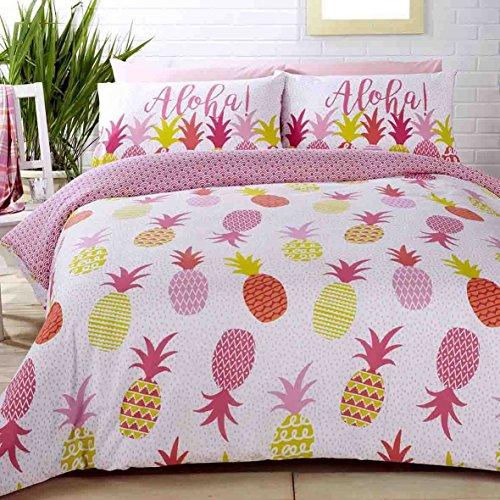 Aloha Ananas Polka Dots Pink Baumwolle-Mischgewebe Single Bettbezug