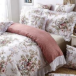 TEALP Parure de lit 3 pièces 100% Polyester (1 Housse de Couette + 2 taies d'oreiller), Microfibre, Floral-White, King