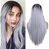 YMHPRIDE pelucas largas rectas para mujer moda gris plateado vestido elegante 22 pulgadas peluca Ombre peluca sintética resis