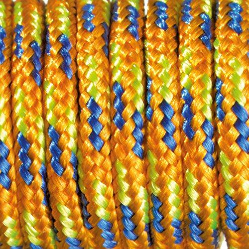 Paracord Corde 2 mm x 50 m - Mélange de couleurs - Orange/bleu/vert clair