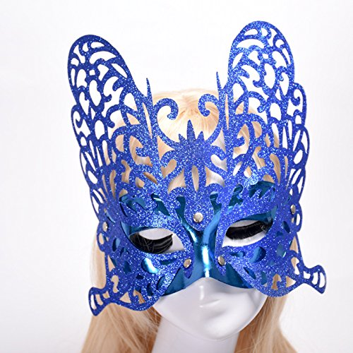 Driverder Goldpulver Schmetterling Hollow Dance Lady Halbe Gesichtsmaske (Blau)