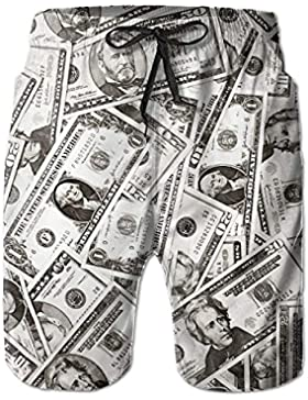 Funny Caps Amazing US Dollar Currency Money Pattern Men's/Boys Casual Quick-Drying Bath Suits Elastic Waist Beach...