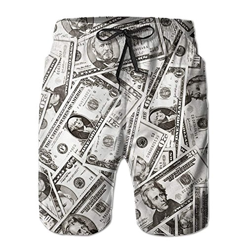 Amazing US Dollar Currency Money Pattern Men's/Boys Casual Quick-Drying Bath Suits Elastic Waist Beach Pants with Pockets XL -