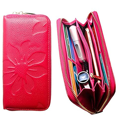 CellularOutfitter Leather Clutch/Wallet Case - Embossed Flower Design w/ Multiple Card Slots and Compartments - Hot Pink