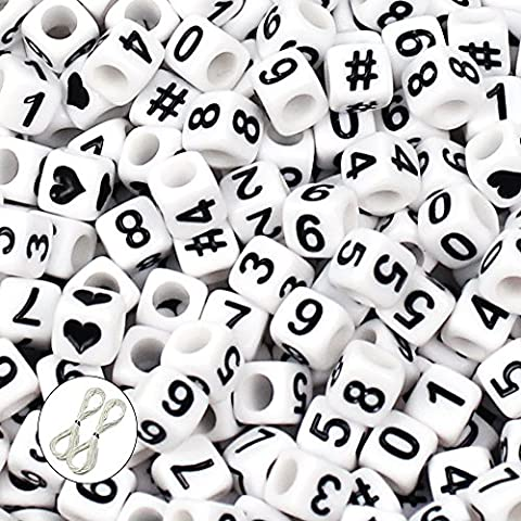 JPSOR 600 Perles nombres 0-9 Cubes Blanc Plastique en Acrylique 6x6mm Avec fil et poche