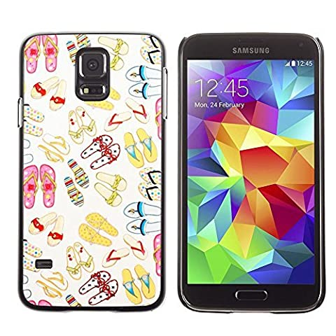 GIFT CHOICE / Mince Étui rigide Dur Housse de protection Slim Hard Protective Case SmartPhone Cover for Samsung Galaxy S5 // Girly Shoes Flip Flops //