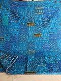Indian Quilt–Vintage Quilt Old patola indian Silk Sari kantha gesteppte Patchwork Tagesdecke Bohemian Kantha Wirft Seide patola Quilt, Bett, Größe 228,6x 274,3cm, baumwolle, Turoise, 90X108 inches