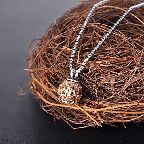 HOUSWEETY Collier Pendentif Colonne Urne Cineraire Pilulier Souvenir Memorable avec Perle Tournante Motif Etoiles Creux or rose