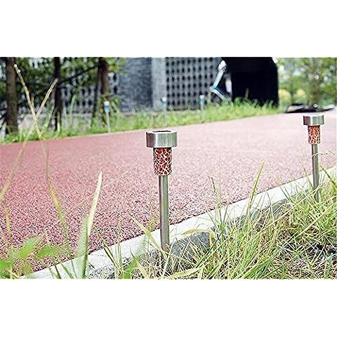 MJEL Passaggio pedonale mini solare paesaggio luci percorso giardino terra cantiere vialetto prato esterno impermeabile 2PCS , orange