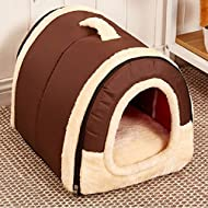 Winter Warm FOLDABLE Non-Slip Outdoor Pet Kennel Cozy Dog House Cat Sofa Puppy Bed (M (45x35x32cm), Brown)