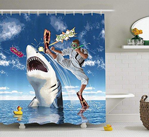 Renfengchui Marine Leben Dusche Vorhang Ungewöhnliche Marine Leben Tier Fisch Hai Mit Karate Kinder Und Comic Ballon Kunst Stoff Bad Dekoration 180 X 198 cm -
