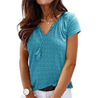 NC Womens Summer Tops Short Sleeve T-Shirts Casual V-Neck Tunic Tops Print Blouse