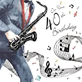 twizler Happy 40th Birthday Karte für Ihn mit Silber folieren und einzigartige Wasserfarben Effekt–Musik und Saxophon–40Jahre–Alter 40Geburtstag–Stecker Geburtstag Karte