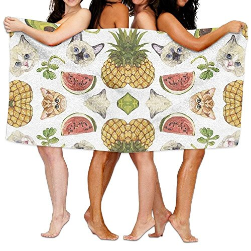 rwwrewre Avocado Watermelon Pineapple and Cat Print Awesome Beach Towel Lightweight Quick Drying Soft for Swimming Pool Yoga Unique Design