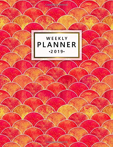 Weekly Planner 2019: Nifty Red Yellow Mermaid Scale Daily and Weekly 2019 Organizer. Cute Watercolor Ocean Wave Yearly Agenda, Journal and Notebook. por Nifty Planners
