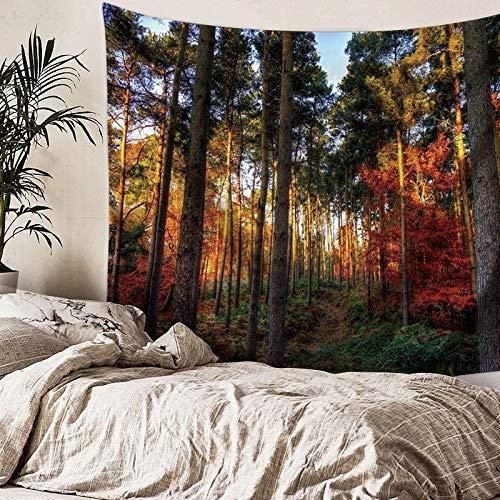rbst Baum Wald Tapisserie Wandbehang Sonnenuntergang gelb Kopfteil Hintergrund große Bedruckte Stoff Tapisserien Schlafzimmer Wohnheim Dekor Kunst ()