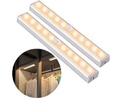 OUSFOT Luce Armadio Guardaroba con Sensore di Movimento, Luce per Armadio con Sensore Usb Ricaricabile 10 Led Striscia Magnet