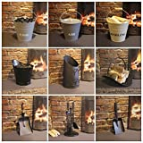 Garden Mile® Vintage Style Fireside Companion Set Fireplace Coal Fire Wood Burner Accessories, Coal Bucket Wood Log Holder Coal Scuttle Kindling Bucket Metal