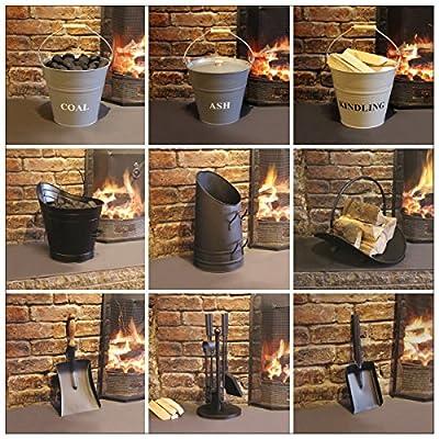 Garden Mile® Vintage Style Fireside Companion Set Fireplace Coal Fire Wood Burner Accessories, Coal Bucket Wood Log Holder Coal Scuttle Kindling Bucket Metal