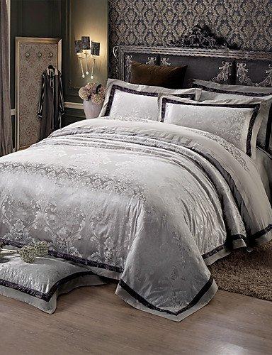 ZHUAN GAOHAIFQ®, vierteilige Anzug,schwarz und grau-Sets Queen King-Size-Betten gesetzt Luxuxseide Baumwollmischung Bettbezug, King