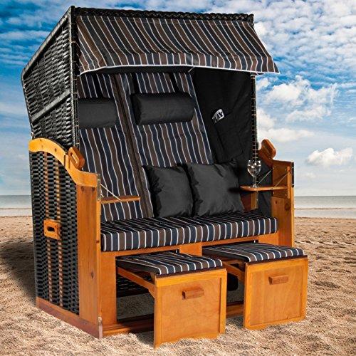 Strandkorb Ostsee XXL Volllieger in der Farbe grau blau braun, Korpus schwarz mit Schutzhülle, Strandkörbe aus Holz und Poly-Rattan ideal für Garten und Terrasse, Premium Strandstuhl Abdeckhaube 120cm - 2