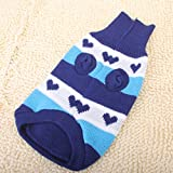 #7: Generic Blue Turtleneck Heart-Shaped Pattern Stripe Dog Sweater Clothes - M