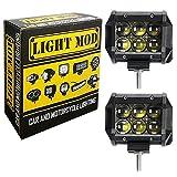 #8: 2pc. LightMod Rectangle Lens 18 Watt Bike Auxillary CREE Fog Lamp Light Flood Light Bulb Offroad Motorcycle LED