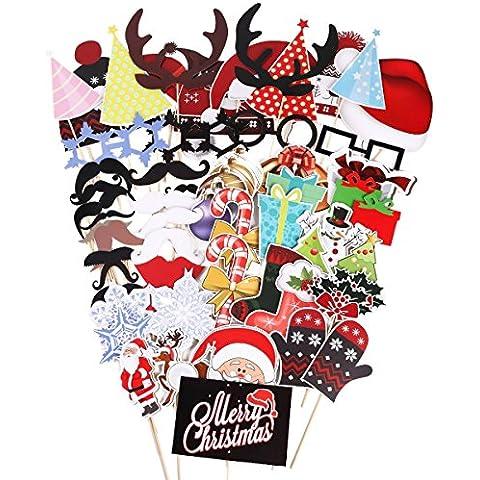 PIXNOR 61 pezzi di puntelli di stand di foto occhiali moustache labbra rosse bastoncini di (Natale Puntelli Photo)