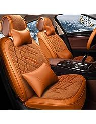 AMYMGLL Autozubehör Full Cover Sitzabdeckung Deluxe (18set) Ausgabe Standard (13set) Ausgabe-Auto-Universal Plüsch + Leder vier Jahreszeiten 6 Farben Auswahl