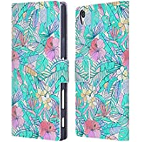 Official Micklyn Le Feuvre Pretty Pastel Hawaiian Florals Leather Book Wallet Case Cover For Sony Xperia Z5 Premium / Dual