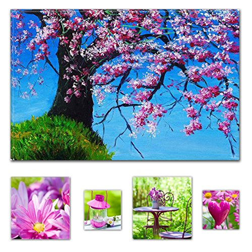 Eco Light Wall Art canvas Bundle Beautiful ramo di ciliegio 60 x 90 cm per arredo casa e per la camera da letto, soggiorno e camera da letto rosa collage set di 4 opere d' arte moderna
