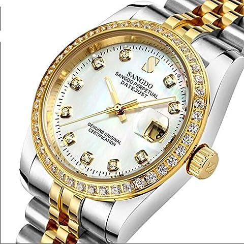 downj guscio bianco quadrante con diamanti da donna in acciaio inox Band automatico orologi meccanici - Womens Diamante Orologio Automatico