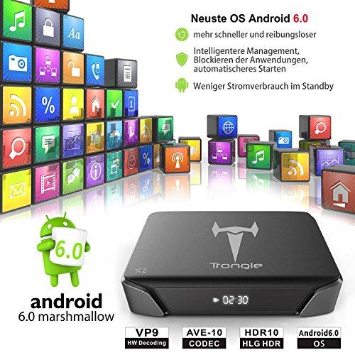Android 6.0 TV Box, SEGURO X2 KODI 16.1 Streaming Media Player Amlogic S905X Quad Core 2GB+8GB eingebaute WIFI mit vorinstallierte Add-ons - 4