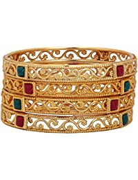 Shreyadzines Gold Plated Filigree Design Colored Stone Bangle Set For Women And Girls (Size : 2.6)