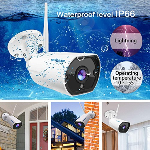 SZSINOCAM Caméra Surveillance WiFi,1080P HD Caméra IP Extérieur sans Fil,IP66 Audio Bidirectionnel Caméra Sécurité,Détection de Mouvement,Email Push,Vision Nocturne de 20 m, Carte SD jusqu'à 64G