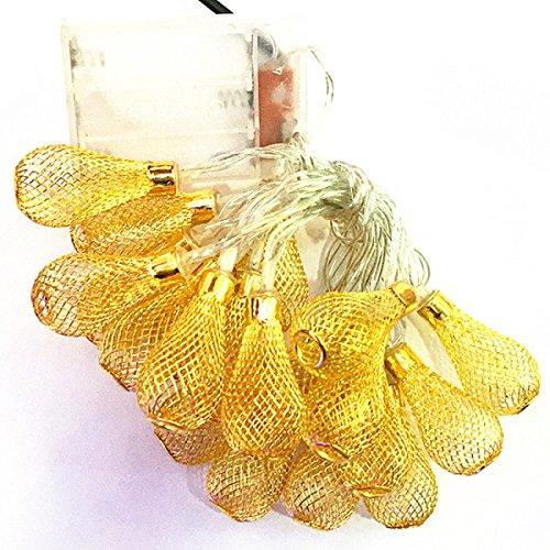 LGZOOT 6.5ft 20 LED Vorhang Licht / Golden Mesh Teardrop String Lights Batterieladung Garten Weihnachtsbaum Halloween Party (Teardrop Vorhänge)