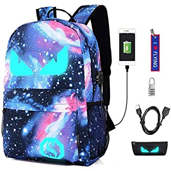 a686c4b4afad WYCY Anime Cartoon Luminous Backpack Fashion Schoolbag with USB Charging  Port and Anti-theft Lock   Pencil Case