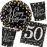 32-teiliges Partyset * SPARKLING CELEBRATION * für den 50. Geburtstag // mit Teller + Becher + Servietten // Set Party Mottoparty Motto fünfzig