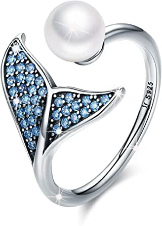 FOREVER QUEEN® Mermaid Tail Ring, S925 Sterling Silver Dolphin Tail Adjustable Finger Ring for Women Girls Open Ring
