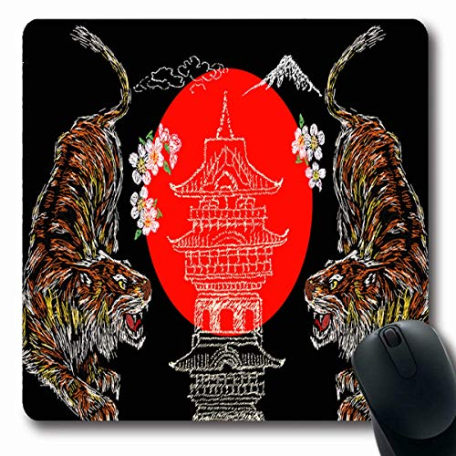 Luancrop Gaming Mousepad Custom Jeans Feuer Tiger Blume Tempel Fuji Grafik Bomberjacke Wildlife Vintage Denim Herbst Design Rechteck...