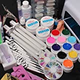 Hot Sale 25 In 1 Professional Nail Art Set 12 Color Pure Solid Uv Gel Brush Buffer Tool Nail Tips Glue Super Kit...