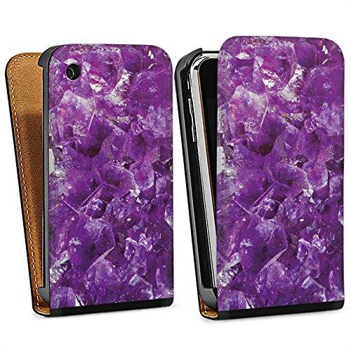 Apple iPhone 5s Housse Étui Protection Coque Améthyste Pierre précieuse Lilas Sac Downflip noir