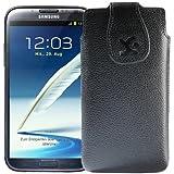 Original Suncase Echt Ledertasche für Samsung Galaxy Note 2 (N7100) und Note 2 LTE (N7105) vollnarbig-schwarz