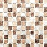 Mosaik Fliese Aluminium beige braun Alu alu kupfer für WAND BAD WC DUSCHE KÜCHE FLIESENSPIEGEL THEKENVERKLEIDUNG BADEWANNENVERKLEIDUNG Mosaikmatte Mosaikplatte