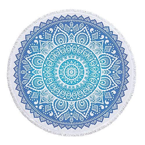 Runde Strandtuch Strand Yoga Matten Schal Schal Tapestry Chiffon Tischdecke Picknickdecke Schal,Runddruckart 8 300 g 150 cm Polyestermaterial